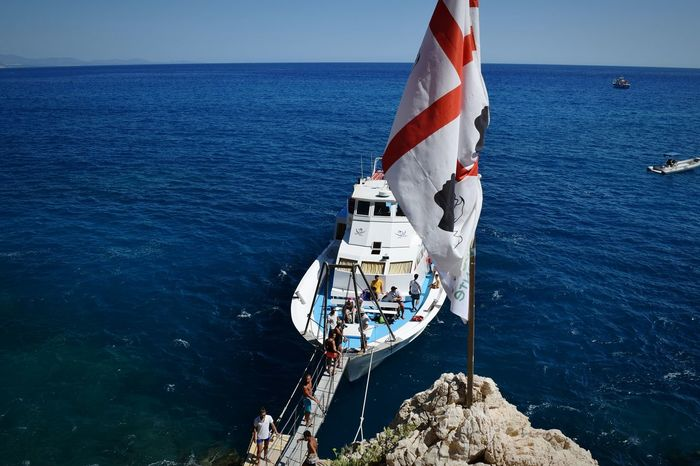 Nautical Vessel Sea Outdoors Mast Boat Deck Sky Day Sardinia,italy Sardinian Flag