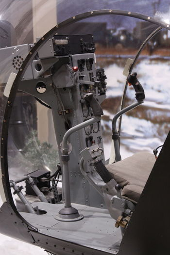 Close-up of helicopter cockpit