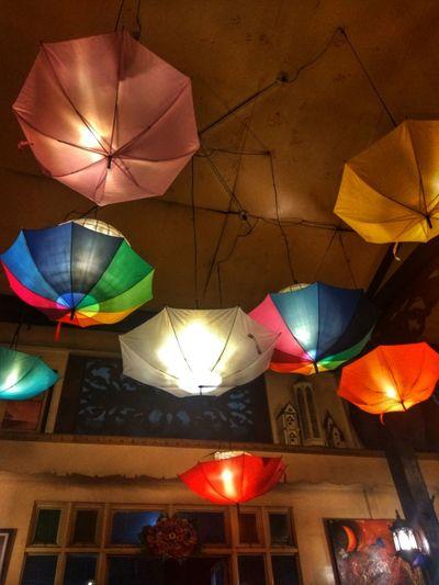 Multi Colored Illuminated No People Hanging Eyeem Philippines Umbrella Ambiance Vintage Bar Night Lights Light