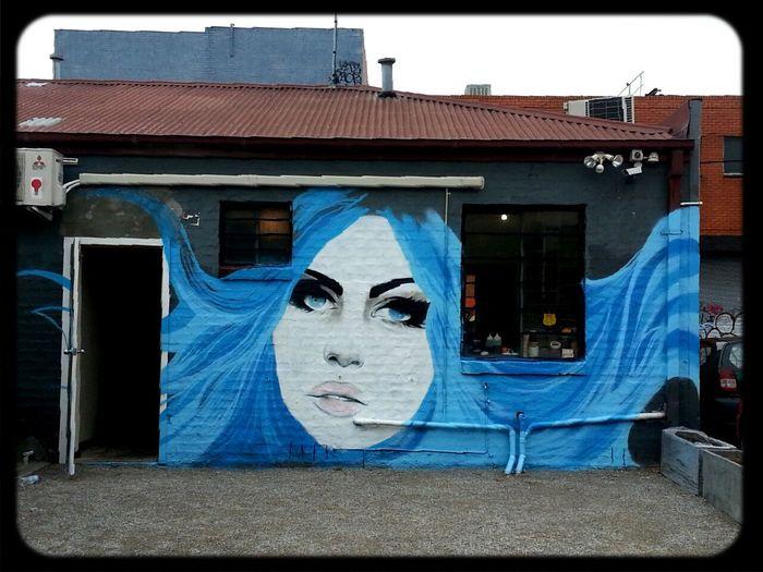 long bluehair & blue eyes, Streetart Mural by Vanderlism in Fitzroy