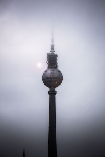 Dark Berlin. FILIPPI GIULIA PHOTOGRAPHY. Architecture Ball Berlin Blackandwhite Building Building Exterior Built Structure Canon City City Dark Fog Germany Minimalism Modern Outdoors Photography Reflection Sky Skyscraper Spire  Tall - High Television Tower Tower Urban