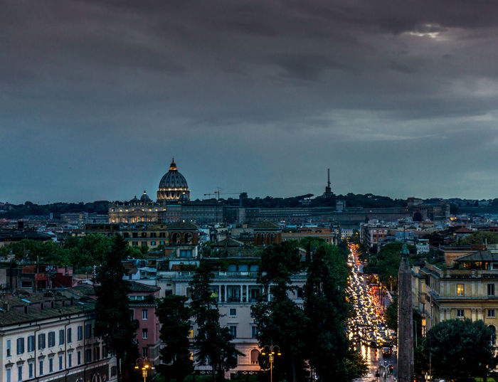 Architecture Building Exterior Business Finance And Industry City Cityscape Cloud - Sky Cupolone Dome Dusk Government Illuminated Italia Night No People Outdoors Panorama Pincio Politics And Government Rom Roma Rome San Pietro Sky Travel Destinations Urban Skyline