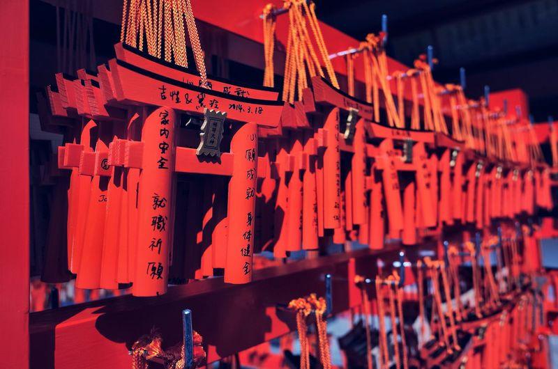 Make a wish Japan Fushimi Inari Taisha Wish Red Night Hanging Illuminated No People Religion Celebration Text Architecture Communication Large Group Of Objects Belief Spirituality