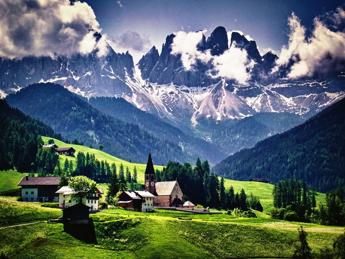 Beautiful Dolomiti Mountain Architecture Beauty In Nature Sky Built Structure Scenics - Nature Tree Cloud - Sky Landscape Mountain Range No People Nature The Great Outdoors - 2018 EyeEm Awards