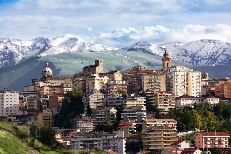 chieti, one of the capitals of Abruzzo photographs with the background of Majella Abruzzo Chieti Cityscape Italy Maiella Majella Mountain Skyline Snow