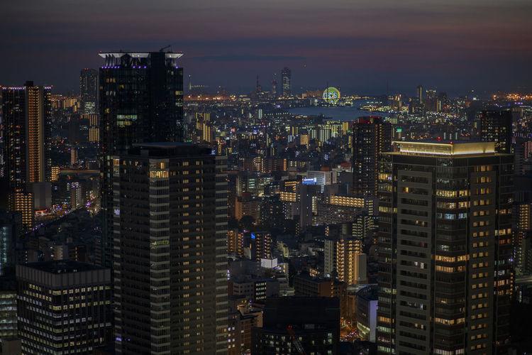 High angle view of osaka skyscraper against  dusky sky of osaka city japan