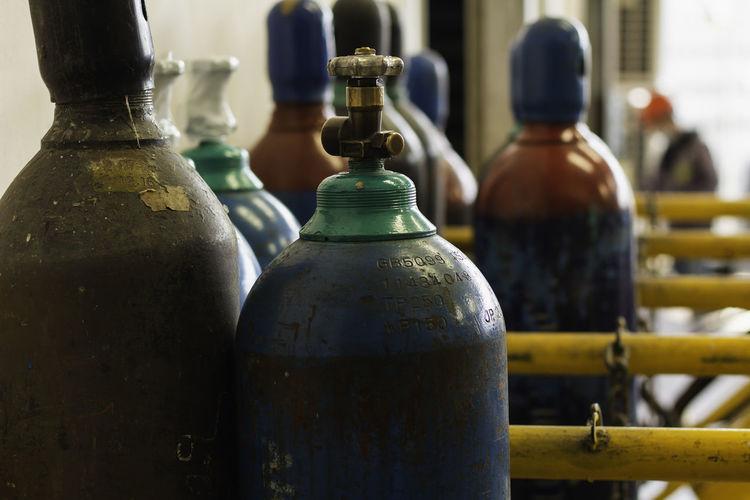 Close-up of old bottles