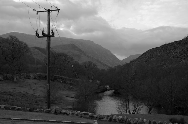 Welsh Countryside River Flowing River Mountain Slope Black And White Black And White Photography Tree Mountain Electricity Pylon Electricity  Cable Sky Telephone Pole Telephone Line Fog Foggy Bare Tree