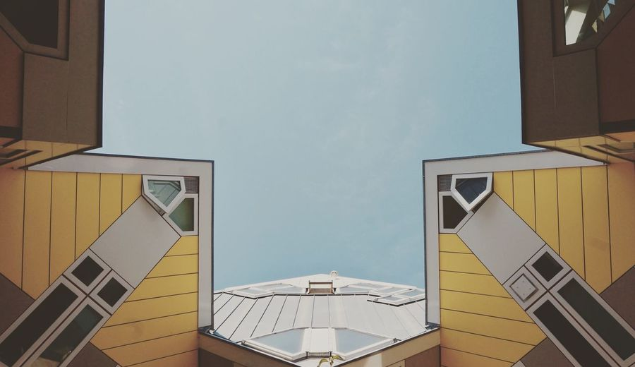 """Cube house designed by architect Piet Blom. """"Living as an urban roof"""" Yellow Blue Simetry Architecture Built Structure Building Exterior Sky Building No People Nature First Eyeem Photo The Architect - 2018 EyeEm Awards Architecture Built Structure Building Exterior Sky Building No People Nature First Eyeem Photo The Architect - 2018 EyeEm Awards Architecture Window Modern"""