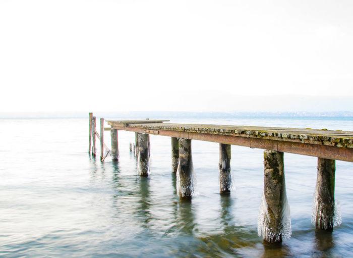 Ponton Beach Water Sea Tranquil Scene Outdoors Day Horizon Over Water Scenics