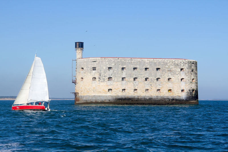 Atlantic Ocean Boyardville Architecture Blue Boyard Building Exterior Charente Charente Maritime Clear Sky Day Fort Fort Boyard Lighthouse Nature Nautical Vessel Prison Sailboat Sailing Sea Sky Voilier Water Waterfront