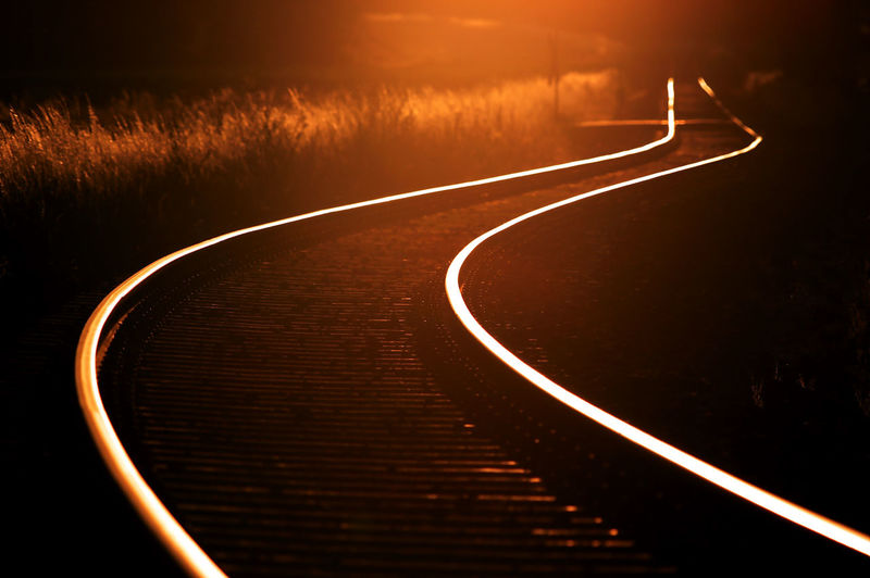 Railways Transportation Curve Orange Color Tranquility Outdoors Railway Track Railway Light Trail