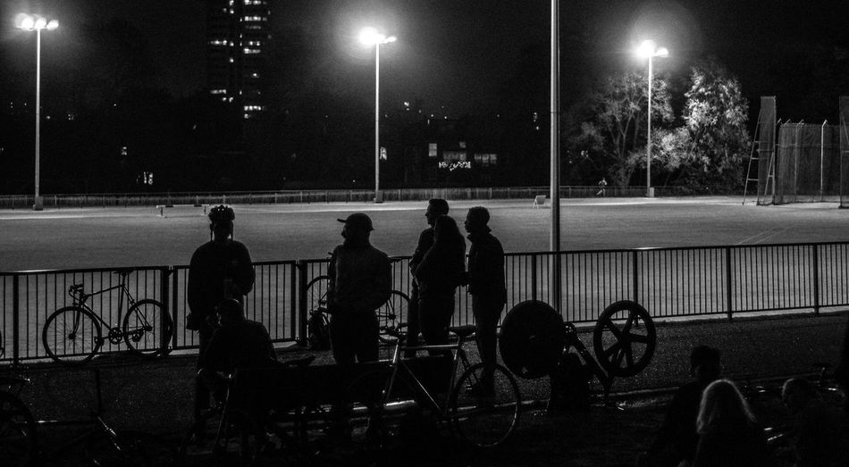 Competition Competitive Sport Fixed Beers Fixie Floodlight Illuminated Land Vehicle Leisure Activity Lifestyles Light Beam Men Night Outdoors People Playing Real People Sport Sportsman Stadium Team Sport Togetherness Wheelchair The Street Photographer - 2017 EyeEm Awards