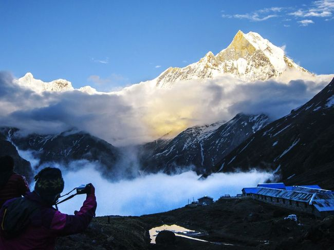 Machhapuchare Himalayas Nepal Annapurnabasecamp Annapurna Conservation Area Trekking Trekking In Nepal Outdoors Photograpghy  Mountains Mountainview Mountains And Clouds Mountain Peak Mountainscape Mountainlove Mountain Landscape Photographer Photographing The Photographer Photographing Photographers Photographing Nature Photographing The Sunset Photographing The Great Outdoors - 2017 EyeEm Awards