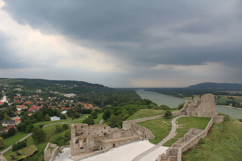 Castle Heavy Clouds Storm Architecture Beauty In Nature Building Exterior Built Structure Cloud - Sky Clouds Danube River Danube River Valley Devin Castle Environment High Angle View Landscape Mountain Nature No People Outdoors Plant Road Ruin Scenics - Nature Sky Transportation EyeEmNewHere