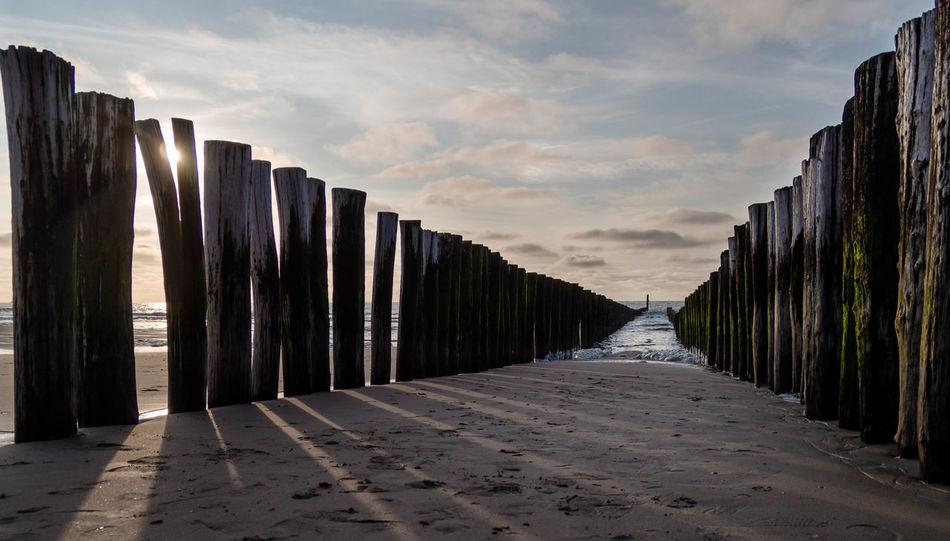 Buhnen Holland Holz Meer Outdoors Pier Schatten Sky Sonnenuntergang Strand