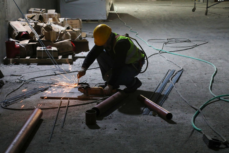 Man working in shopping mall