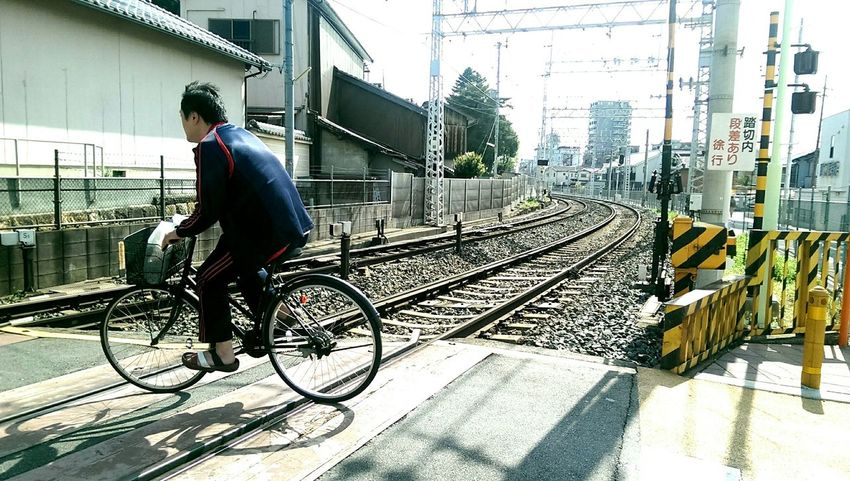 Railway Tracks Street Photography Perspective Level Crossing Japan Bicycle Bike