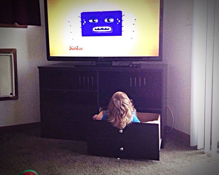 Best Seat In The House Watching Tv Child Indoors  Television Drawer Close See Grandson Comfy  Big Screen Funny Cute Childhood Quiet Really??