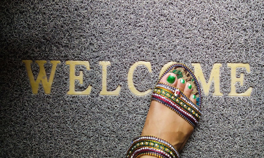 Welcome Mat Footwear Entering Enter Traditional Footwear Green Green Nails Green Nail From My Point Of View Foot Entrance Tailored To You