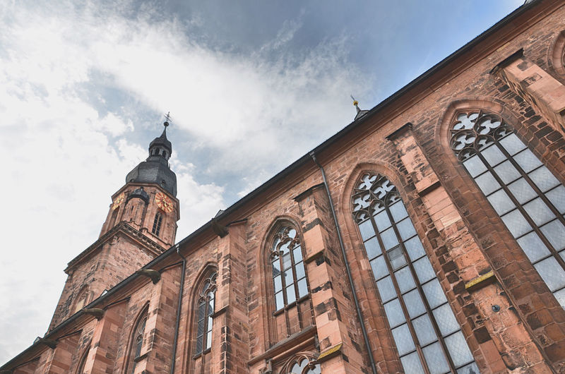 Low angle view of a church in heidelberg against sky