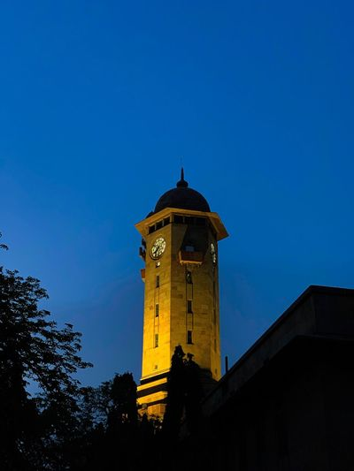 Watch tower Sky Architecture Low Angle View Built Structure Building Exterior Tower Blue Building Tree Nature No People Clear Sky Night Copy Space Clock Tower The Past History Silhouette Travel Destinations