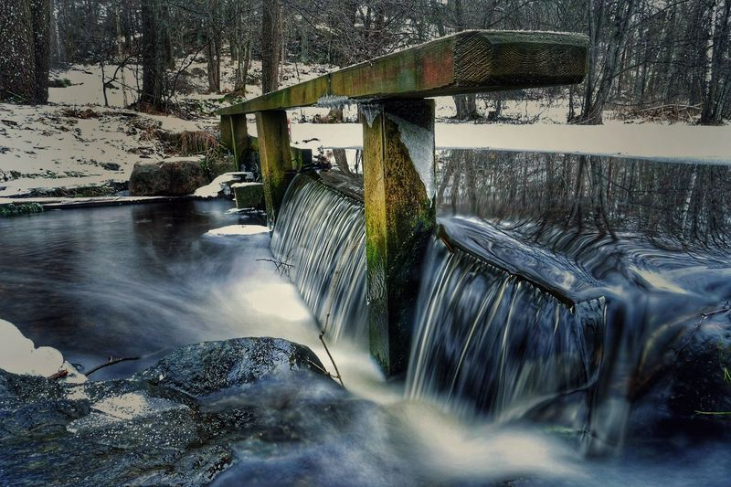 Mini waterfall Waterfall Long Exposure Stockholm Sweden Photography Lx100 Blue Winter Lx100 Shutterspeed Water Reflection Day Nature No People Transportation Motion Outdoors Beauty In Nature Tree Sky