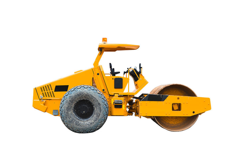 yellow road roller on white road roller isolated. Construction Industrial Industry Isolated Machinery Roll Rollercoaster Work Close Up Construction Industry Construction Machinery Construction Site Construction Vehicle Cut Out Hydrolic Industry Land Vehicle Machinery Repair Site Steamroller Technology Transportation Vehicle Yellow