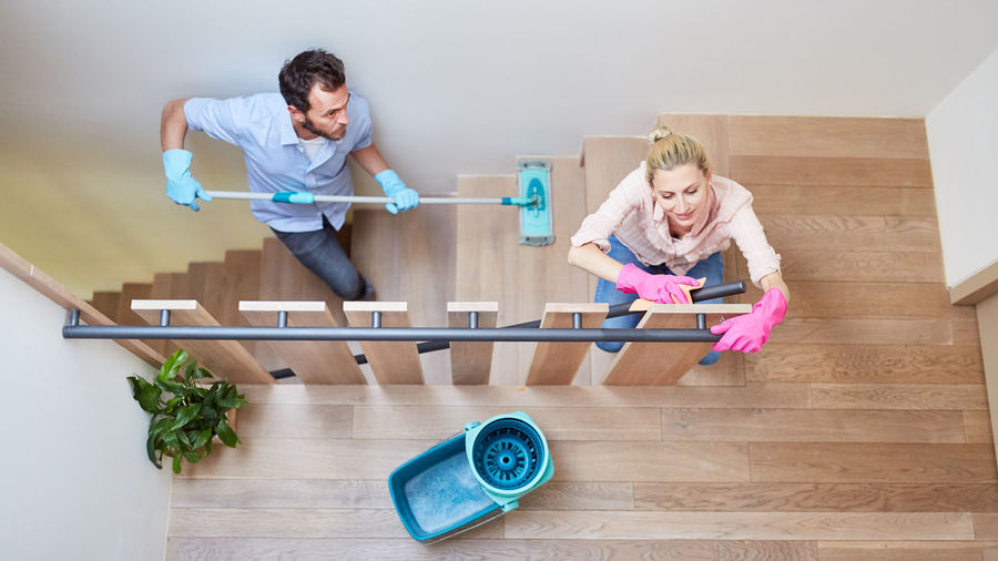 Woman and son on floor at home