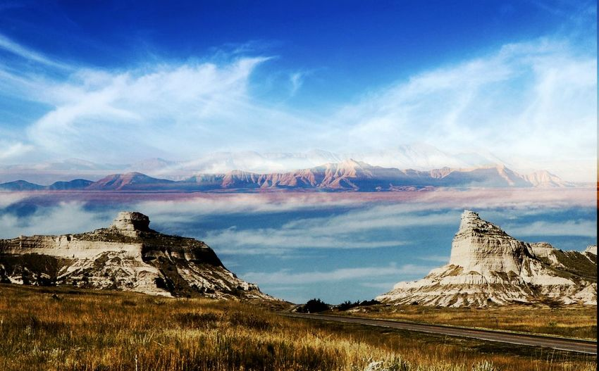 Double images of places visited Hills In The Distance Rock Formation Double Exposure Landscape Travel Destinations Outdoors No People Cloud - Sky Scenics Day Beauty In Nature Blue Nature