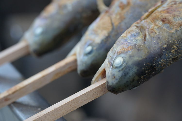 Close-up of fish skewers