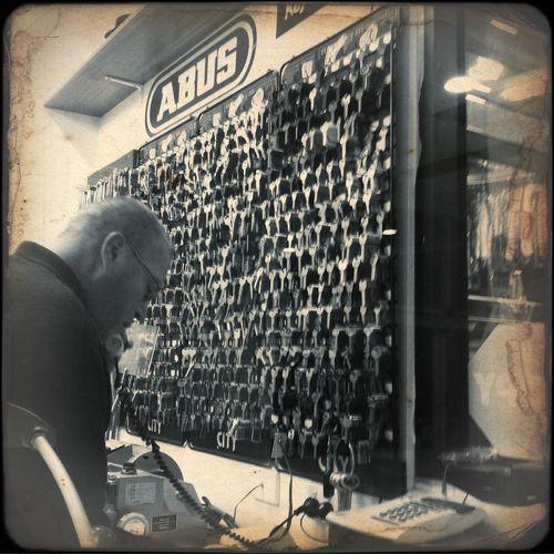 The Key Man Keys Working Hard Inner Melbourne Black & White