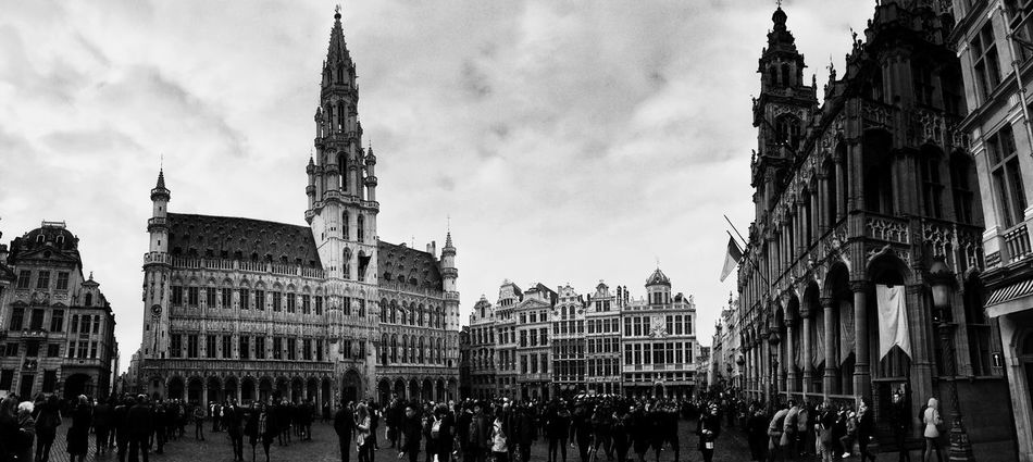 Building Exterior Built Structure Architecture Travel Destinations Sky City Outdoors Large Group Of People Real People Blackandwhite Street Urban City Life Grand Place Bruxelles