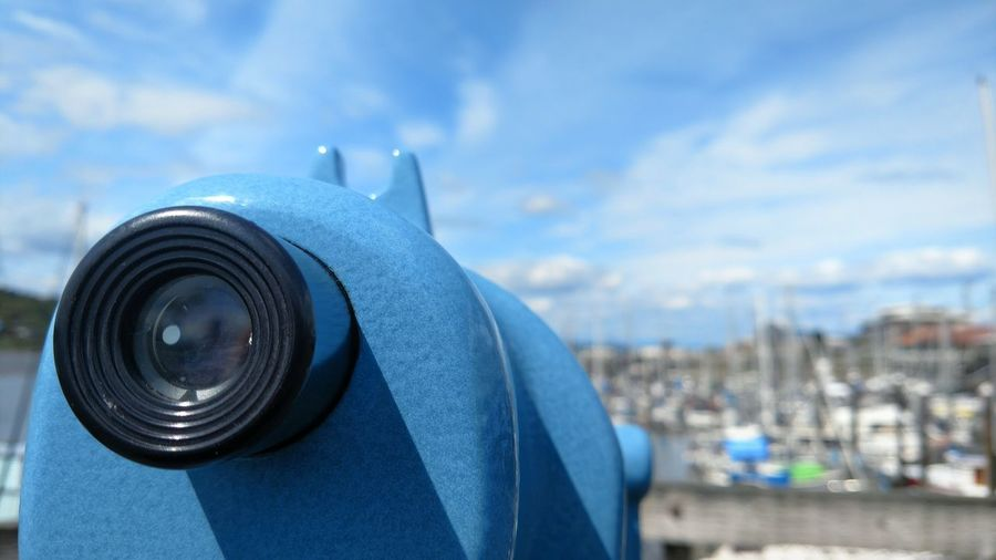 Explore Seeing The Sites Marina Travel Travel Destinations Olympia, Wa Wanderlust Motorola Lobuephotos Coin-operated Binoculars City Cityscape Blue Sky Close-up Lens - Optical Instrument Telescope Observation Point Lens - Eye Searching Famous Place