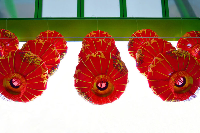 Chinese lanterns in the Chiinatown Balloon Celebration Chinatown Chinese Calligraphy Chinese New Year Cinese Colorful Cultures Decoration Design Lantern Multi Colored New Year Around The World Red Tradition Umbrella
