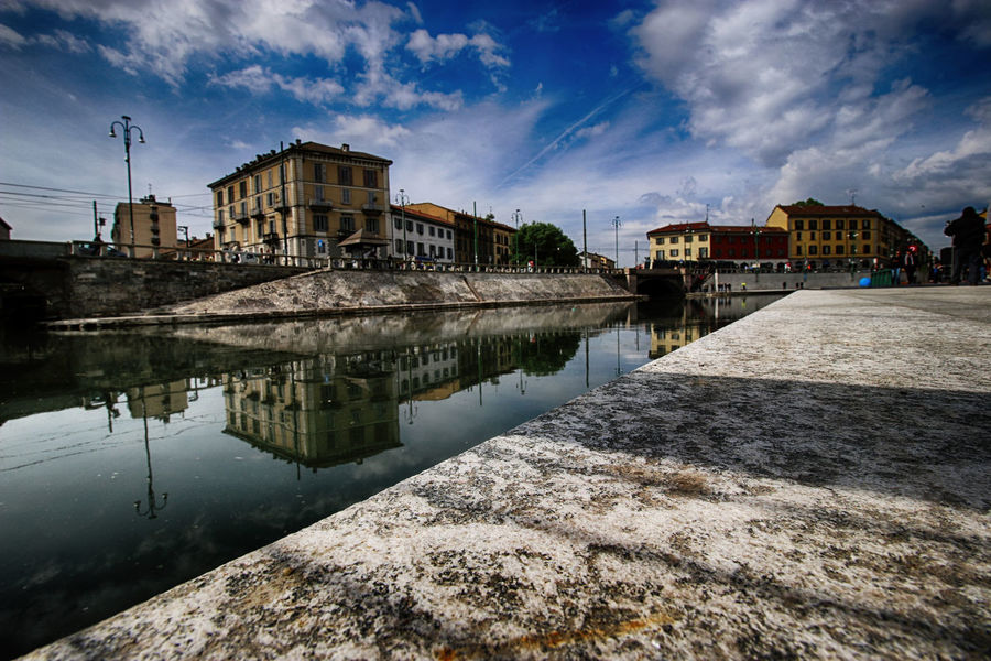 Architecture Blue Building Exterior Canal Case Cielo City Cityscapes Cloud - Sky Clouds And Sky Color Darsena Fiume Milan,Italy Milano No People Nuvole Refelctions Reflection Reflection Residential Building River Sky Water Water Reflections
