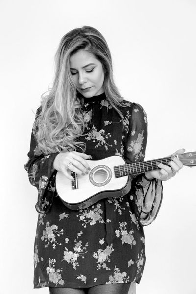 guitar girl Beautiful Dress Joyful Accoustic Guitar Beautiful Woman Black And White Girl Guitar Holding One Person Player Portrait Standing Studio Shot White Background Young Adult Young Women