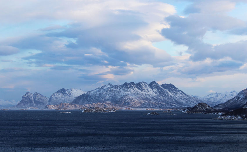 Winter in Bodø Mountain Cloud - Sky Sky Scenics - Nature Beauty In Nature Snow Cold Temperature Water Winter Tranquil Scene Environment Mountain Range Nature Tranquility Landscape Sea No People Non-urban Scene Snowcapped Mountain Outdoors Mountain Peak Range Norway🇳🇴 Bodø