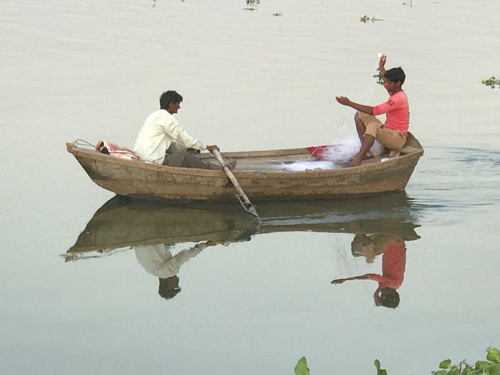 Beautiful Earth 🌎 Nautical Vessel Water Men Transportation Mode Of Transport Sitting Outdoors Day Two People Togetherness Nature Full Length Real People Fisherman Oar Sky Adult People River Ganges