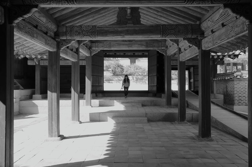 Capture The Moment Connected By Travel EyeEm Best Shots EyeEmNewHere Historical Building Place Taking Photos Travel Architectural Column Architecture Blackandwhite Built Structure Changdeokgung Palace Enjoying Life first eyeem photo Landscape Leisure Activity Lifestyles Light And Shadow Monochrome One Person Palace People Travel Destinations Women Black And White Friday Be. Ready. EyeEm Ready   An Eye For Travel Go Higher Adventures In The City