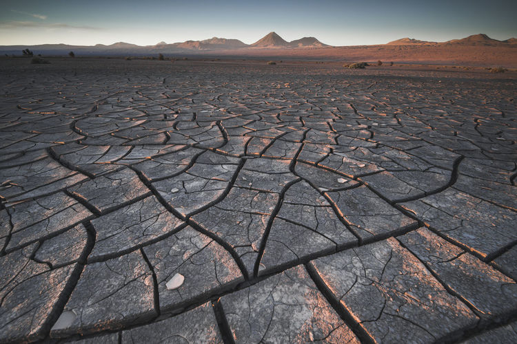 Aerial view of cracked land