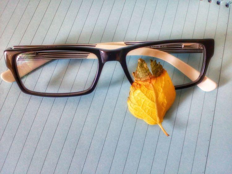 Eyeglasses  Freshness Eyesight Sunglasses Mobile PhotographyEye Glasses Motorola Photography Moto E Mobilephotography Eye Glass Specticals Note Pad Conceptual Photography  Studio Shot Yellow Leaves