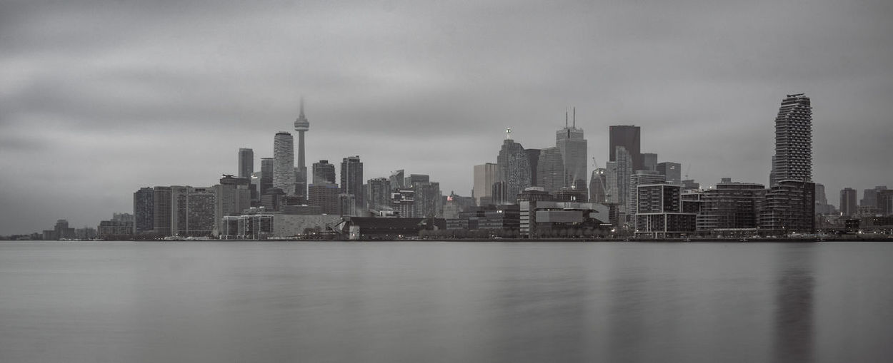 Toronto skyline monochrome Building Exterior Building Architecture Built Structure City Water Office Building Exterior Urban Skyline Skyscraper Waterfront Tall - High Cloud - Sky Landscape Cityscape Modern Travel Destinations No People Financial District  Toronto Ontario Panoramic Monochrome