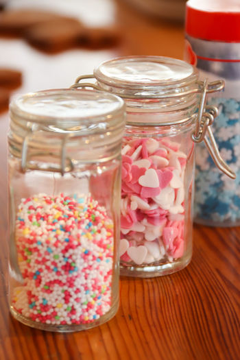 Close-up of dessert in jar on table