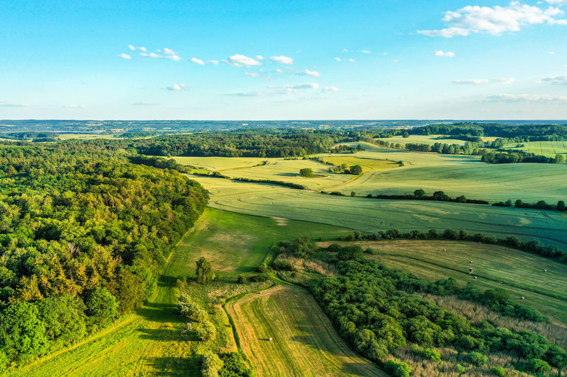 Aerial view of agricultural fields and forest Forest Naturall Nature Village Summer Sky Clouds Rural Scene Agriculture Field Sky Landscape Agricultural Field Farmland Hay Bale Farm Woods