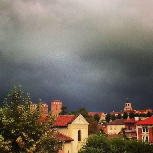 Fossano Summerrain Rain Grey skygrisrainingcloudycloudssadskywindowviewmycityitalyhorizon