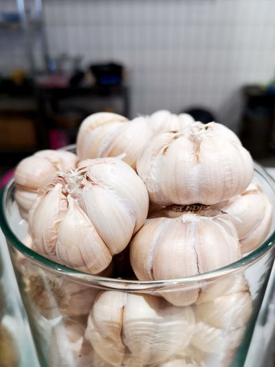 Close-up of garlic on table