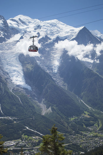 Overhead cable car over snowcapped mountains