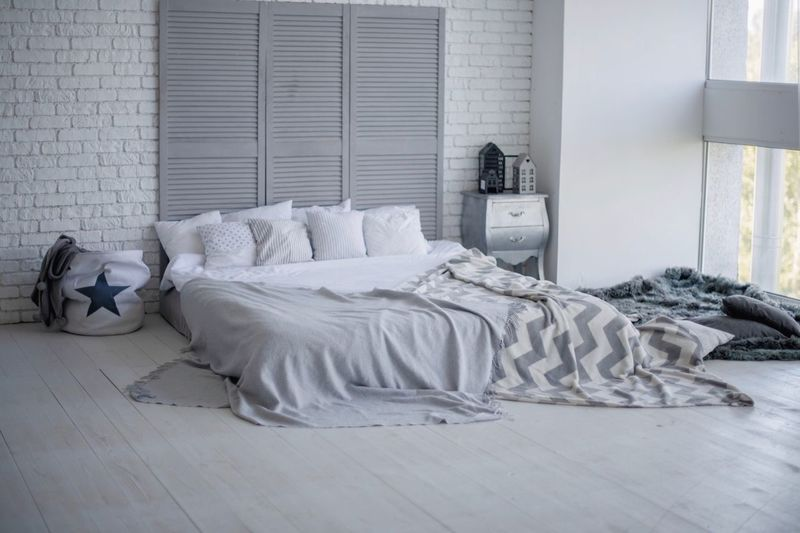 bedroom interior in gray tones Bed Bedroom Furniture Domestic Room Pillow Home Interior Indoors  White Color Comfortable Sheet Home No People Home Showcase Interior Blanket Absence Window Day Cozy Lifestyles Flooring