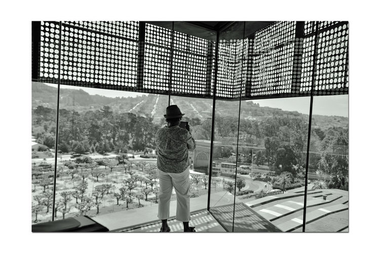 View From Observation Deck 3 DeYoung Museum 8th Floor Observation Tower Golden Gate Park San Francisco CA🇺🇸 Cityscape Parkview Bnw_friday_eyeemchallenge Scenic Lookout Bnw_thepeoplearoundus Woman Takes Pictures Monochrome_PhotographyMonochrome Vista Black & White Photography Black & White Black And White Black And White Collection  Spreckels Temple Of Music Music Concourse Large Plate Glass Windows Reflection Rooftop Silhouettes Rear View